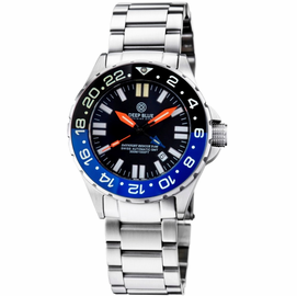 DAYNIGHT RESCUE GMT T-100 SWISS AUTOMATIC ETA 2893-2 BLACK/BLUE BEZEL- BLACK DIAL ORANGE HANDS