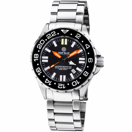 DAYNIGHT RESCUE GMT T-100 SWISS AUTOMATIC ETA 2893-2 BLACK BEZEL- BLACK DIAL ORANGE HANDS