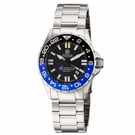 DAYNIGHT RESCUE T-100 GMT  TRITIUM- 1/2 BLACK- 1/2 BLUE BEZEL /BLACK DIAL �BLUE TUBES