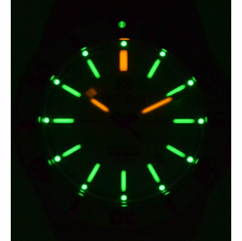 Daynight Silver Dial - Green + Orange Tubes with Lume dots