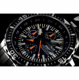 DAYNIGHT  T-100 GMT AUTO CHRONOGRAPH  SWISS MADE BLACK