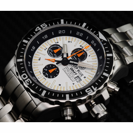 DAYNIGHT T-100 GMT AUTO CHRONOGRAPH   -SWISS MADE WHITE/BLACK