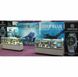 """Deep Blue "" Booth at JCK Las Vegas Annual Watch Fair"