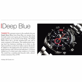 "Deep Blue in Watchtime Magazine ""Holiday Gift Guide"" 2013"