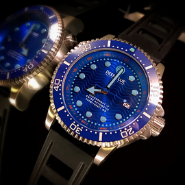 JUGGERNAUT IV SWISS AUTOMATIC – DIVER RARE BLUE DIAL BLUE ,SECOND HAND , ONE OF A KIND