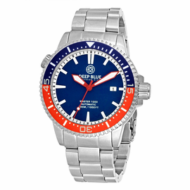 MASTER 1000M AUTOMATIC –CERAMIC 1/2 BLUE 1/2 RED BEZEL DIVER BLUE DIAL RED HANDS