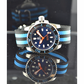 Nato Ballistic Nylon Strap with a double blue stripe