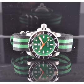 Nato Ballistic Nylon Strap with a double green stripe