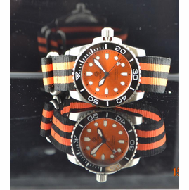 Nato Ballistic Nylon Strap with a double orange stripe