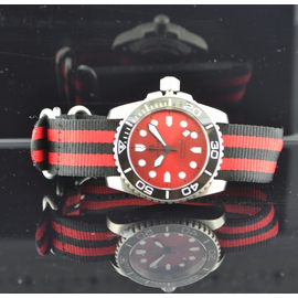 Nato Ballistic Nylon Strap with a double red stripe