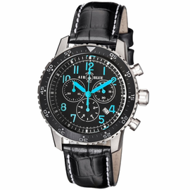 PILOTS PRO CHRONOGRAPH BLACK CERAMIC BEZEL BLACK BLUE DIAL