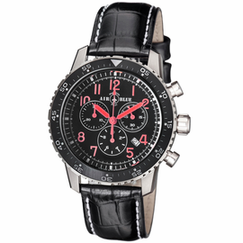 PILOTS PRO CHRONOGRAPH BLACK CERAMIC BEZEL BLACK RED DIAL