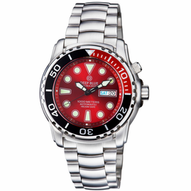 PRO SEA DIVER 1000M BRACELET ¼ RED/ BLACK BEZEL –RED  DIAL