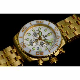 SEA RAM GOLD CHRONOGRAPH  CERAMIC BEZEL COLLECTION WHITE WHITE
