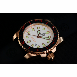 SEA RAM QUARTZ ROSE GOLD TONE BLACK CERAMIC BEZEL WHITE DIAL