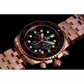 SEA RAM ROSE GOLD CHRONOGRAPH CERAMIC BEZEL BLACK  WHITE