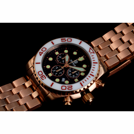 SEA RAM ROSE GOLD CHRONOGRAPH CERAMIC BEZEL WHITE BLACK