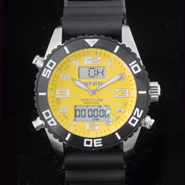 World Timer Yellow Analog-Digital Watch