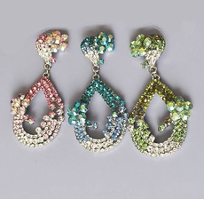 ANGEL BABY RHINESTONE EARRINGS - COLORED CRYSTALS