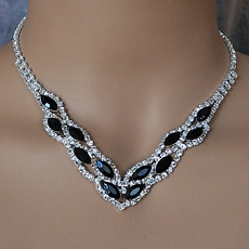Black or Grey Rhinestone Necklace Sets