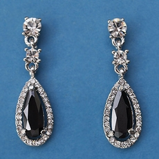 BLACK ELEMENT RHINESTONE EARRINGS