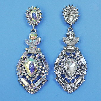 BOLD AND BEAUTIFUL RHINESTONE AB-REFLECTIVE CHANDELIER EARRINGS<BR>CLEAR SOLD OUT