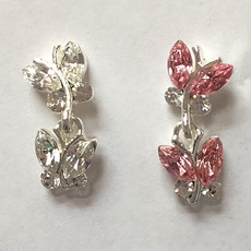 BUTTERFLY DUET RHINESTONE EARRINGS - SOLD OUT OF CLEAR, 2 PINK PAIR REMAINING