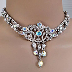 CARELEE VINTAGE CLEAR-AB RHINESTONE CHOKER SET