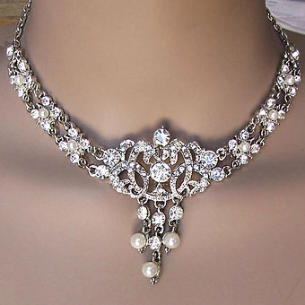Carelee Vintage Pearl Wedding Set silver chain faux pearl with