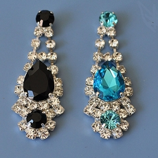 CLASSY RHINESTONE CHANDELIER EARRINGS - BLACK or TURQUOISE
