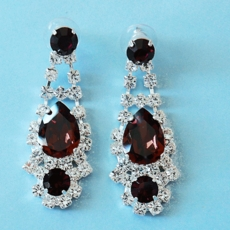 CLASSY RHINESTONE PURPLE EARRINGS