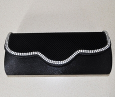 CRYSTAL CURVES BLACK PURSE CLUTCH EVENING HANDBAG - SOLD OUT