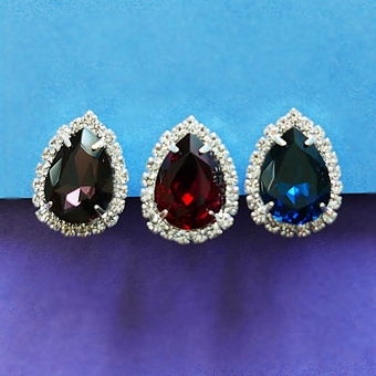 CRYSTAL GEM COLORED CLIP-ON EARRINGS