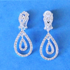 DOUBLE RAINDROP RHINESTONE CLIP-ON EARRINGS - SOLD OUT