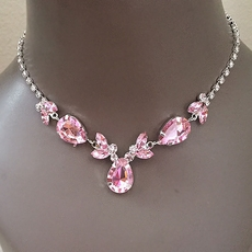 ERICA PINK RHINESTONE BRIDESMAIDS JEWELRY SET