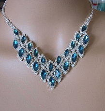 EXCITE TEAL GREEN RHINESTONE JEWELRY SET