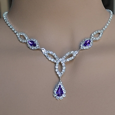FASCINATION DEEP PURPLE RHINESTONE JEWELRY SET
