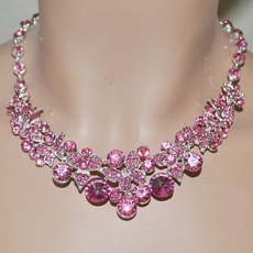 FINEST FUCHSIA BUTTERFLY RHINESTONE JEWELRY SET