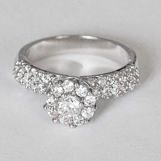 FLOWER BUD CZ CUBIC ZIRCONIA WEDDING RING - BAND