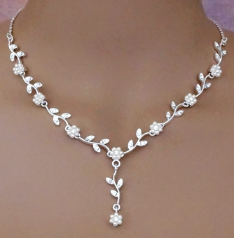FLOWER POWER BRIDAL JEWELRY NECKLACE SET