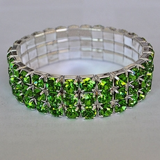 GREEN ELASTIC BRACELET WITH LARGE CRYSTALS