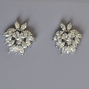JOYFUL SILVER STUD CZ CUBIC ZIRCONIA EARRINGS