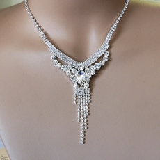 KASIE RHINESTONE ALL CLEAR SILVER NECKLACE SET