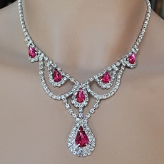 KIMBERLY FUCHSIA RHINESTONE JEWELRY SET