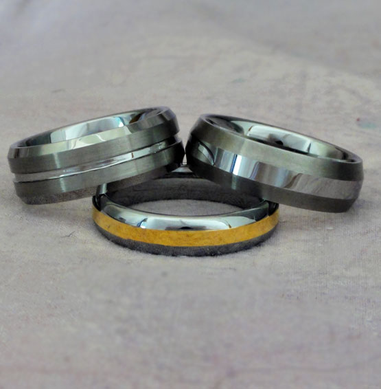 Mens Tungsten Carbonite Wedding Ring And Bands