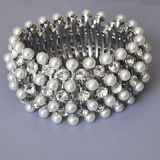NANCY'S CHOICE PEARL RHINESTONE ELASTIC BRACELET - SOLD OUT