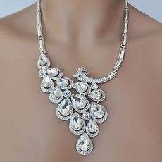 PEACOCK DAZZLE CLEAR RHINESTONE JEWELRY SET FOR YOU - ONE REMAINING SET