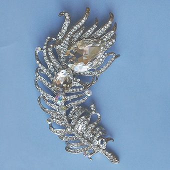 PEACOCK FEATHER CRYSTAL PIN