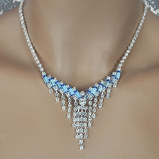 PERKY BLUE RHINESTONE BRIDAL JEWELRY SET