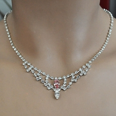 PINK PALACE RHINESTONE NECKLACE JEWELRY SET